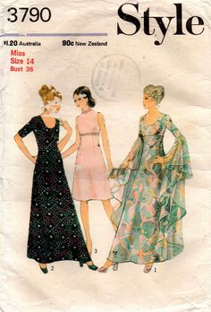 Style 3790 Womens Boho Maxi Lined Caftan Dress with Cascading Sleeves 70s Vintage Sewing Pattern Size 14 Bust 36 inches