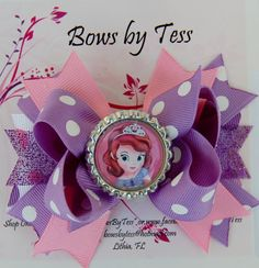 character shaped hair bows | Sofia Inspired Stacked Boutique Bow with Bottle Cap Center Purple Pink ...