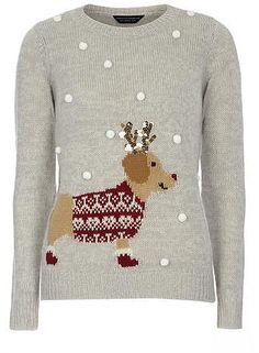 Womens dove grey light grey pom pom sausage dog Christmas jumper- grey from Dorothy Perkins - £26 at ClothingByColour.com