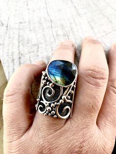 Natürliche Labradorit Knuckle Ring große Ring Rose