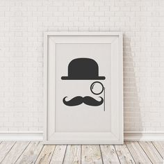 Bowler Hat Moustache Fine Art Print by thebinarybox on Etsy, £9.99