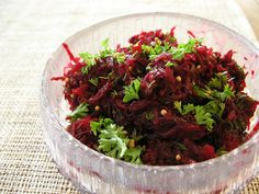 Nigella Lawson's raw beetroot salad with dill and mustard seeds
