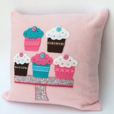 Pink Cupcakes Cushion (One Day Sale was £15 now £11) by Little Lili May