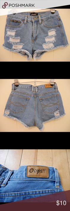 High-Waisted Destroyed Denim Cutoff Shorts Super cute high-waisted denim cutoff shorts. Made by indie Thai brand Oops!! Tag says size L, but I wear size 4/27 jeans and these fit perfect! Oops!! Shorts Jean Shorts