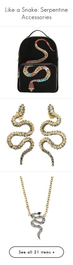 """""""Like a Snake: Serpentine Accessories"""" by polyvore-editorial ❤ liked on Polyvore featuring snakes, bags, backpacks, black, leather bags, embellished bag, knapsack bag, leather backpack bag, leather knapsack and jewelry"""