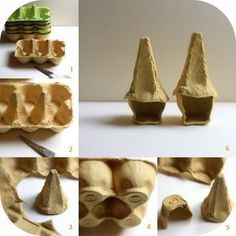 Daily Colours : Fairy Houses - DIY Egg Carton Fairy Bird-Houses Or hats #fairygardening