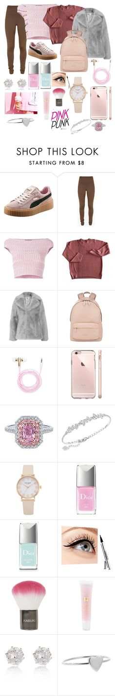 """""""Pretty Pink"""" by yuliasitnikova ❤ liked on Polyvore featuring Puma, Balmain, Alexander McQueen, Jakke, Givenchy, Forever 21, Swarovski, Christian Dior, Luminess Air and Topshop"""