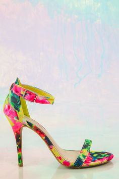 Brighten up your wardrobe with the perfect pair of watercolor open-toed heels! Want, need, love! We are obsessed! Repin!