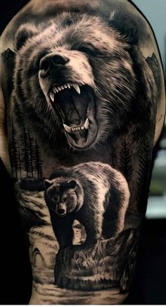 75 + Bold Bear tattoo designs, ideas & meaning - the colorful design of the . - 75 + Bold Bear Tattoo Designs, Ideas & Meaning – The colorful design of the bear is recognized wo - Wolf Tattoos, Lion Forearm Tattoos, Animal Tattoos, Dragon Tattoos, Wolf Tattoo Sleeve, Sleeve Tattoos, Tattoo Indien, Grizzly Bear Tattoos, Tattoo Designs