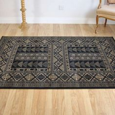 Afghan design rug in black and gold Hall Runner, Cheap Rugs, Traditional Rugs, Runners, Design, Home Decor, Gold, Black, Hallways