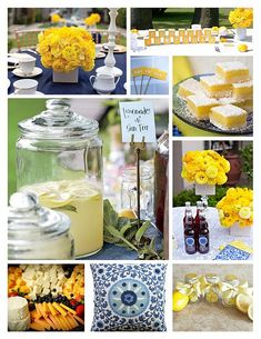 Blue and Yellow Backyard bridal shower that we hosted for a dear friend of ours! Stunning yellow flowers on tribal thread linens.
