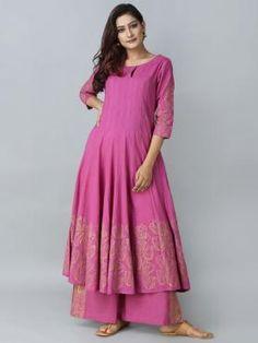 Pink Blue Cotton Chanderi Hand Block Printed Suit - Set of 3