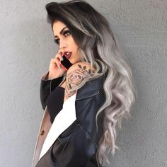 New Hair Ombre Silver Lace Front Wigs Ideas Dye My Hair, New Hair, Grey Ombre Hair, Coloured Hair, Haircut And Color, How To Draw Hair, Grunge Hair, Dark Hair, Hair Looks