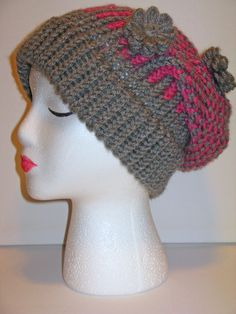 Adult Size Pink & Gray Multi Pattern Knit Hat by ToOurMoonAndBack, $25.00