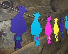 Trolls Garland/ Poppy Garland/ Trolls Party Decor/ Trolls Cake Table/ Poppy Banner/ Trolls Birthday