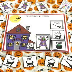 Halloween Rhymes, Halloween Books, Halloween Activities, Phonemic Awareness Activities, Rhyming Activities, Rhyming Kindergarten, Room On The Broom, Early Literacy, Literacy Centers