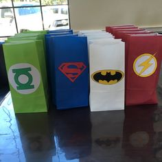 4th Birthday Boys, Superman Birthday Party, 5th Birthday Party Ideas, Batman Party, 10th Birthday Parties, Superhero Favors, Superhero Party, Justice League Party, Goody Bags