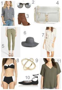 Kiss Me Darling: Currently Craving... fall must haves, fall outfit, lace up flats, olive green blouse. gray floppy hat. olive green denim, gingham blouse. plaid top, gray cross body, tan booties, retro sunglasses