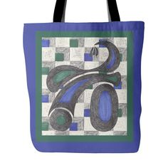 Green & Blue Tricycle Tote Bag