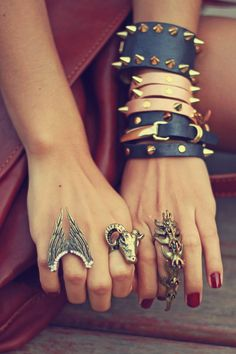 leather, studded bracelets