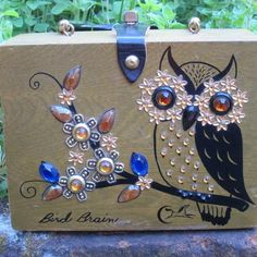Enid Collins wood box bag 'Bird Brain' owl with blue accent jewels