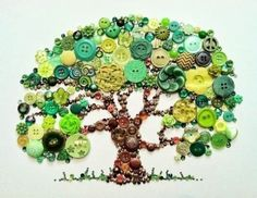 Button Tree of Life Button Art with Swarovski by BellePapiers Button Tree Canvas, Button Wall Art, Button Tree Art, Buttons On Canvas, Cute Crafts, Diy And Crafts, Crafts For Kids, Arts And Crafts, Recycled Crafts