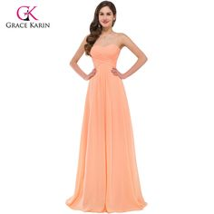 c5e293d1b5a40 Elegant Long Evening Dresses Grace Karin Women Strapless Party Dresses 2017  New Arrival Chiffon Orange Formal Evening Gowns-in Evening Dresses from  Weddings ...