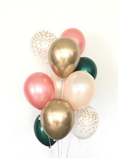 Rose gold and green balloon bouquet rose gold balloons etsy rose gold wedding band set half round and rings eco friendly jewelry sea babe jewelry this set is priced for 2 rings and includes Bridal Shower Balloons, Gold Bridal Showers, Birthday Balloon Decorations, Birthday Balloons, Happy Birthday Cards, Birthday Greeting Cards, Free Birthday, Birthday Parties, Balloons Tumblr