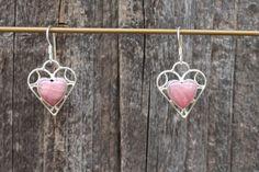 Pink Rhodochrosite Heart Sterling Silver by SlowHandSilverJwlry