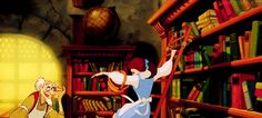 Which book does Belle return to the bookshop in the opening sequence?