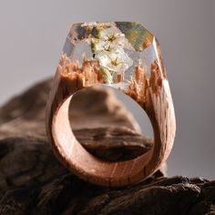 White flower forest - Secret Wood ring