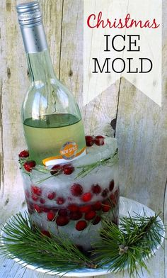 This Christmas Ice Mold is a beautiful display for wine bottles at Christmas. It's simple to make and cost only about $1. Create one for your holidays today.