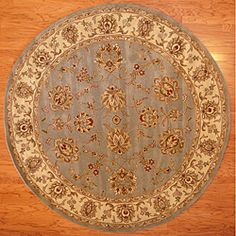 Indo Hand-tufted Mahal Floral Light Blue/ Beige Wool Rug (8' Round)