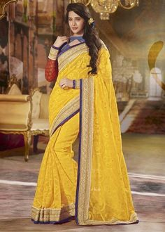 Buy Yellow Color Jute Designer Saree Online – Fashionic: Indian Ethnic Wear