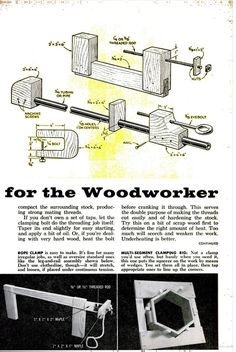 Homemade Clamps for Woodworker. From vintage Popular Science Magazine Woodworking Basics, Woodworking Hand Tools, Woodworking Clamps, Wood Tools, Woodworking Workshop, Popular Woodworking, Woodworking Projects, Science Magazine, Diy Shops
