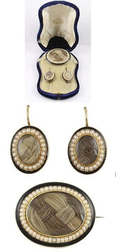 Mourning set of brooch and earrings
