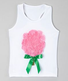 Another great find on #zulily! White & Sweet Pink Flower Tank - Infant, Toddler & Girls #zulilyfinds