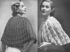 1951 Knitted Shawl Vintage Knitting Pattern Aunt Emma's shawl on the left