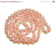 Pink Rose Quatz Bead necklace by serendipitytreasure on Etsy