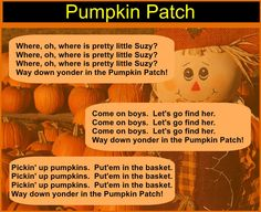 """I changed this from """"Paw Paw"""" patch to """"pumpkin"""" patch for October.  See Lois Choksy's 120 Singing Games and Dances for the line dance.  Enjoy!"""