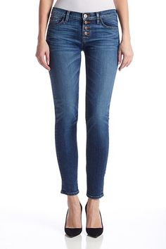 """The Ciara Super Skinny in Legion is out newest super skinny with an exposed button fly and includes a 8"""" front rise, 10"""" leg opening and 30"""" inseam"""