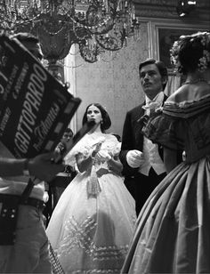 "Alain Delon and Claudia Cardinale on the set of ""Il Gattopardo"" Dir. L. Visconti…"