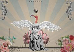 Queen Birdy by Seanzha Kemal Rachman, via Behance - Very abstract but also enchanting.. Has a vintage vibe because of the muted colours and content, feels more commercial than many of the other collages