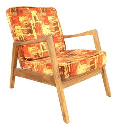 Mid Century Danish Style Lounge or Arm Chair With Exuberant Upholstery by Centa on Chairish.com