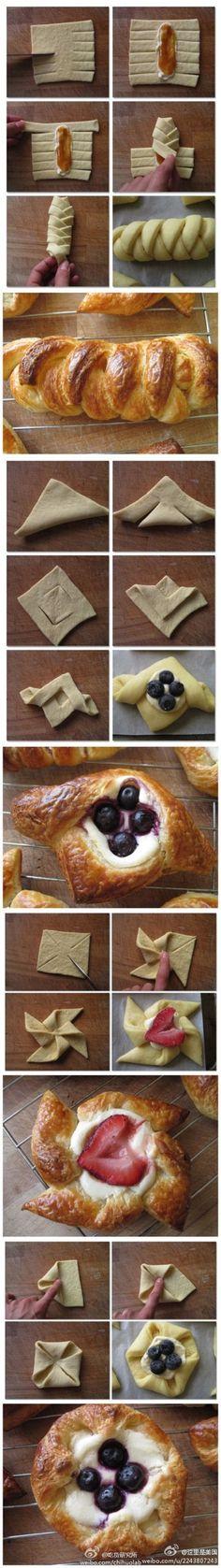Pastry folding ideas.