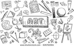 Black and white fine art stationary doodle and tool model icon in isolated background. Art subject doodle used for school education or document decoration with subject header text, create by vector Bullet Journal Lycéen, Doodle Drawings, Doodle Art, Kunst Portfolio, Art Tumblr, Doodle Books, Sketch Notes, Lettering Tutorial, School Subjects