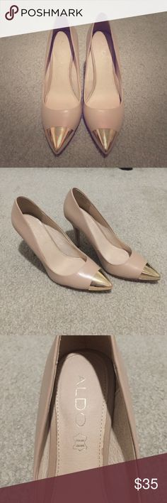 Aldo nude pointy heels with gold tips Aldo heels with gold tips. Size 7. Faux leather. Aldo Shoes Heels