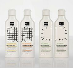 Cool packaging design - like the way the shampoo and conditioner images flow into each other