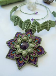 Amethyst Flower Macrame Necklace handmade with natural amethyst gemstone cabochon