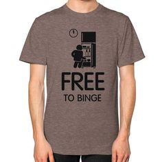 Free To Binge Men's T-shirt, American Apparel T-shirt, graphic and logo t shirt, funny tee, custom t shirt, Food tee (Black Icon)